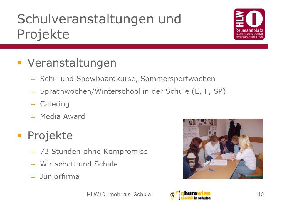 Schulveranstaltungen und Projekte