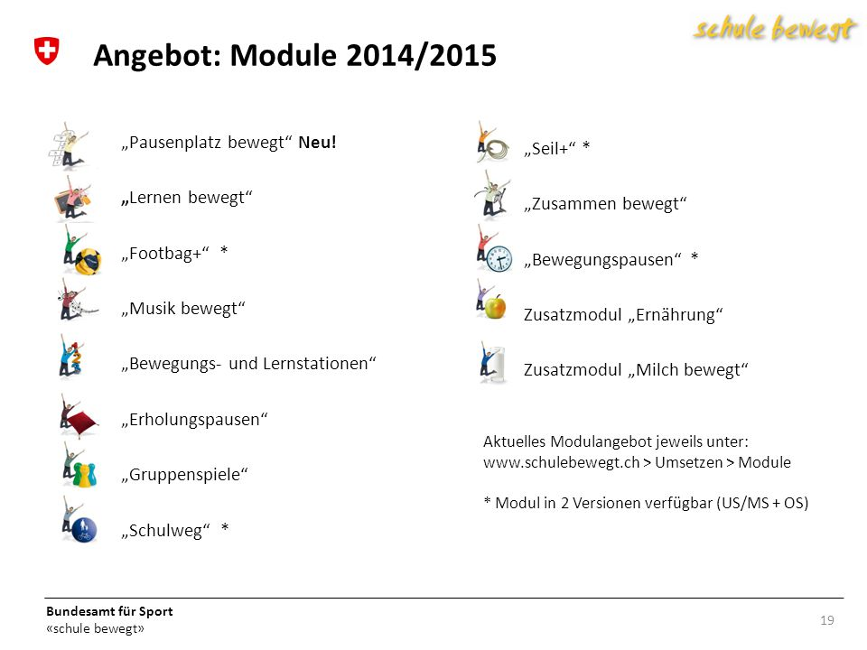 """Angebot: Module 2014/2015 """"Pausenplatz bewegt Neu! """"Seil+ *"""