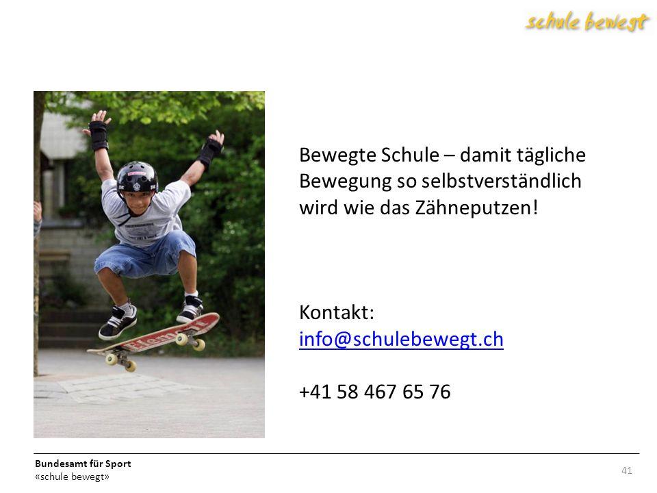 Bewegte Schule – damit tägliche Bewegung so selbstverständlich wird wie das Zähneputzen! Kontakt: info@schulebewegt.ch