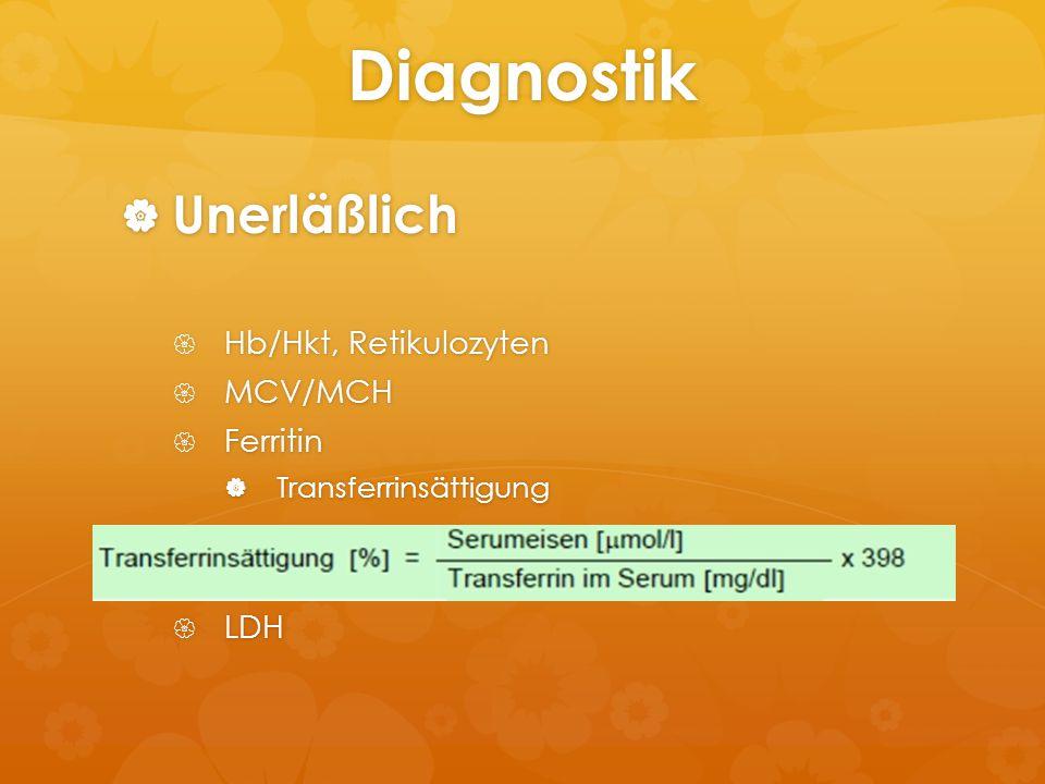 Diagnostik Unerläßlich Hb/Hkt, Retikulozyten MCV/MCH Ferritin LDH