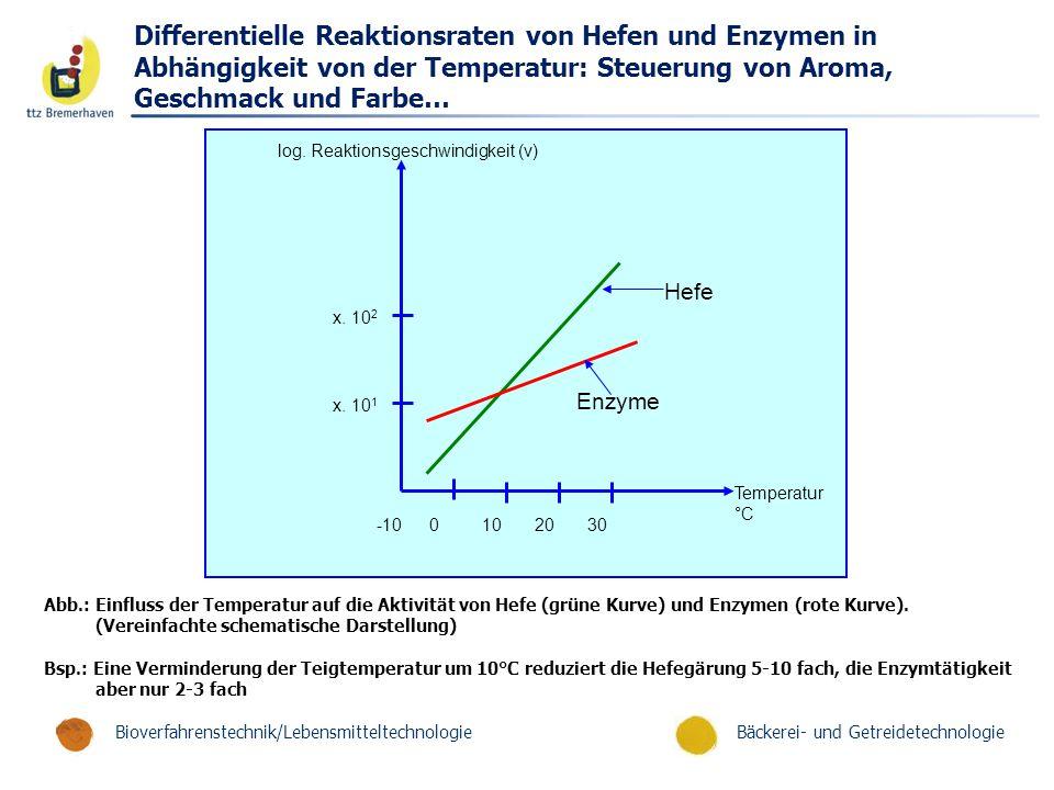 Differentielle Reaktionsraten von Hefen und Enzymen in Abhängigkeit von der Temperatur: Steuerung von Aroma, Geschmack und Farbe…