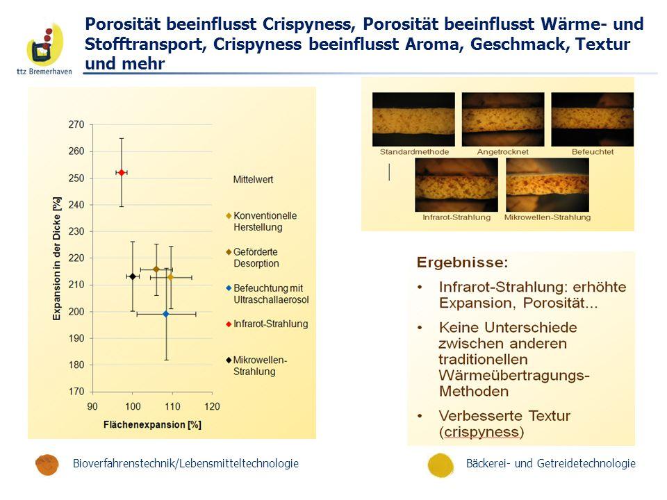 Porosität beeinflusst Crispyness, Porosität beeinflusst Wärme- und Stofftransport, Crispyness beeinflusst Aroma, Geschmack, Textur