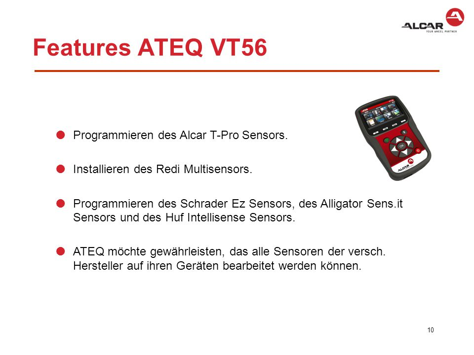 Features ATEQ VT56 Programmieren des Alcar T-Pro Sensors.