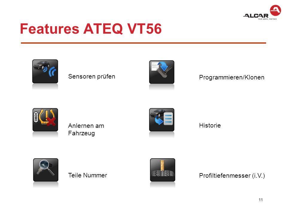 Features ATEQ VT56 Sensoren prüfen Programmieren/Klonen