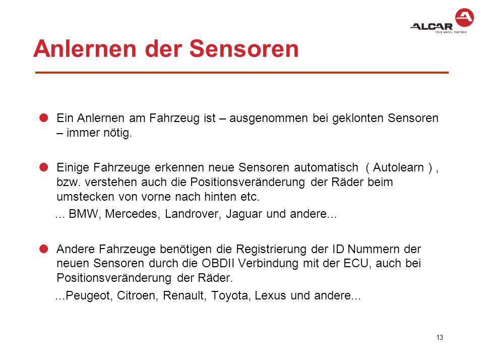 Anlernen der Sensoren Ein Anlernen am Fahrzeug ist – ausgenommen bei geklonten Sensoren – immer nötig.