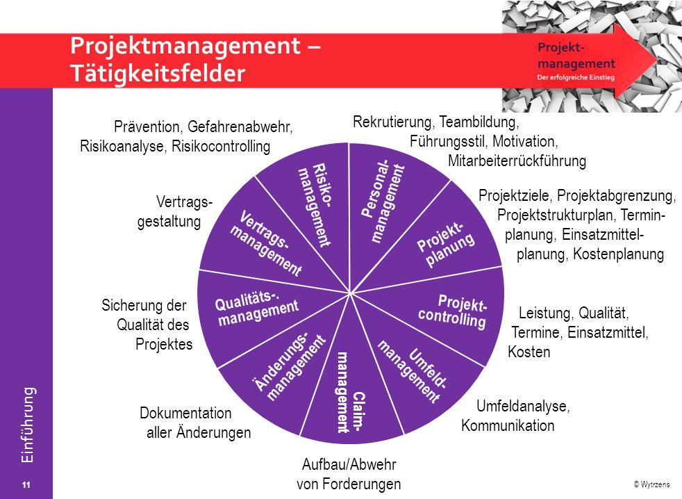 Projektmanagement – Tätigkeitsfelder