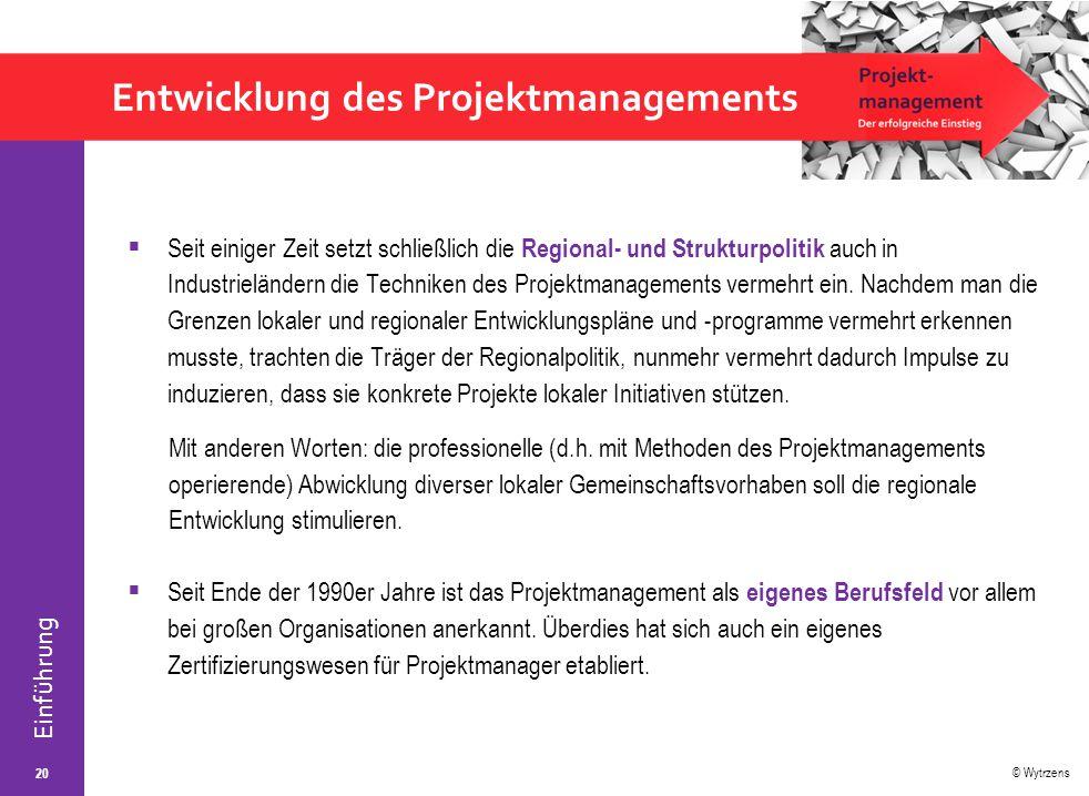 Entwicklung des Projektmanagements