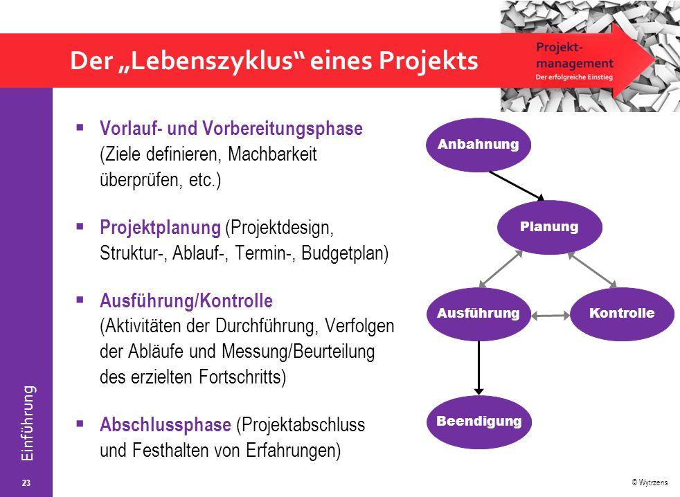"""Der """"Lebenszyklus eines Projekts"""