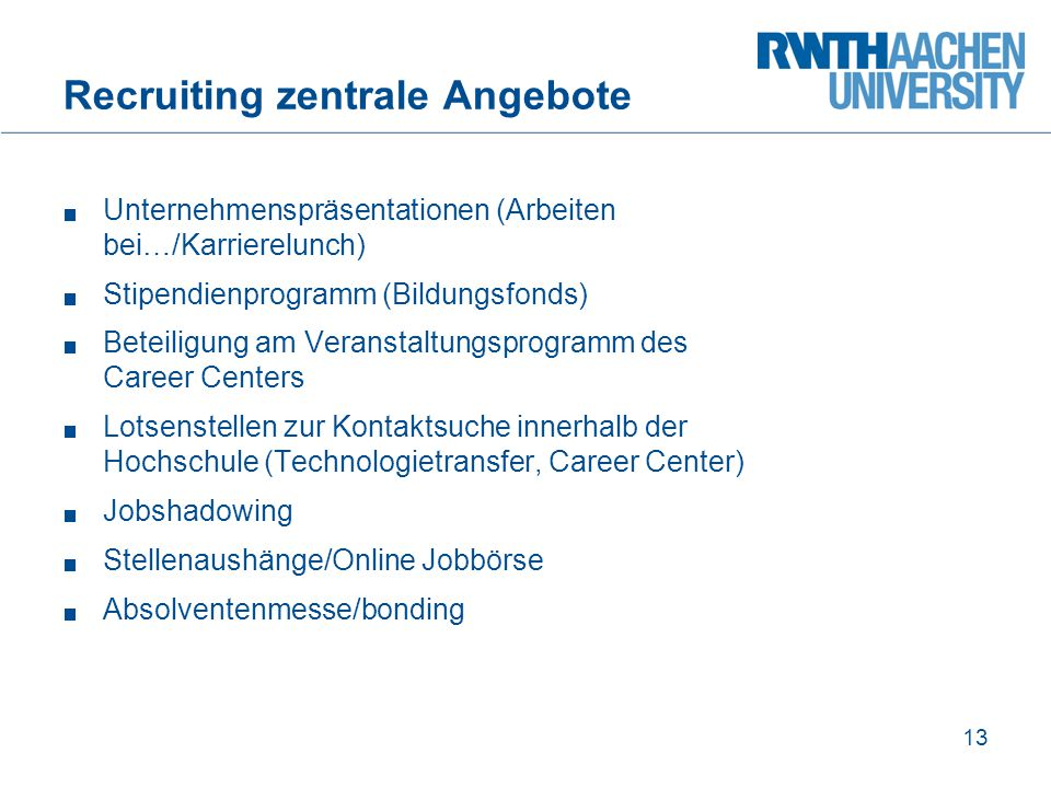 Recruiting zentrale Angebote