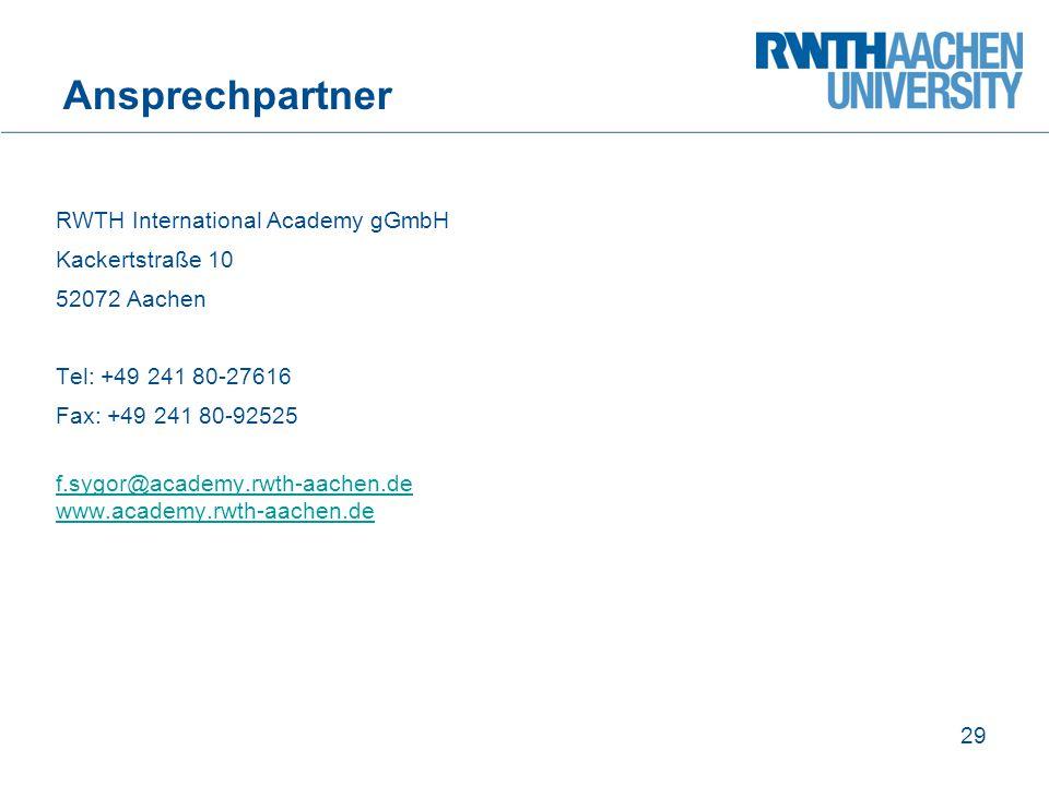 Ansprechpartner RWTH International Academy gGmbH Kackertstraße 10