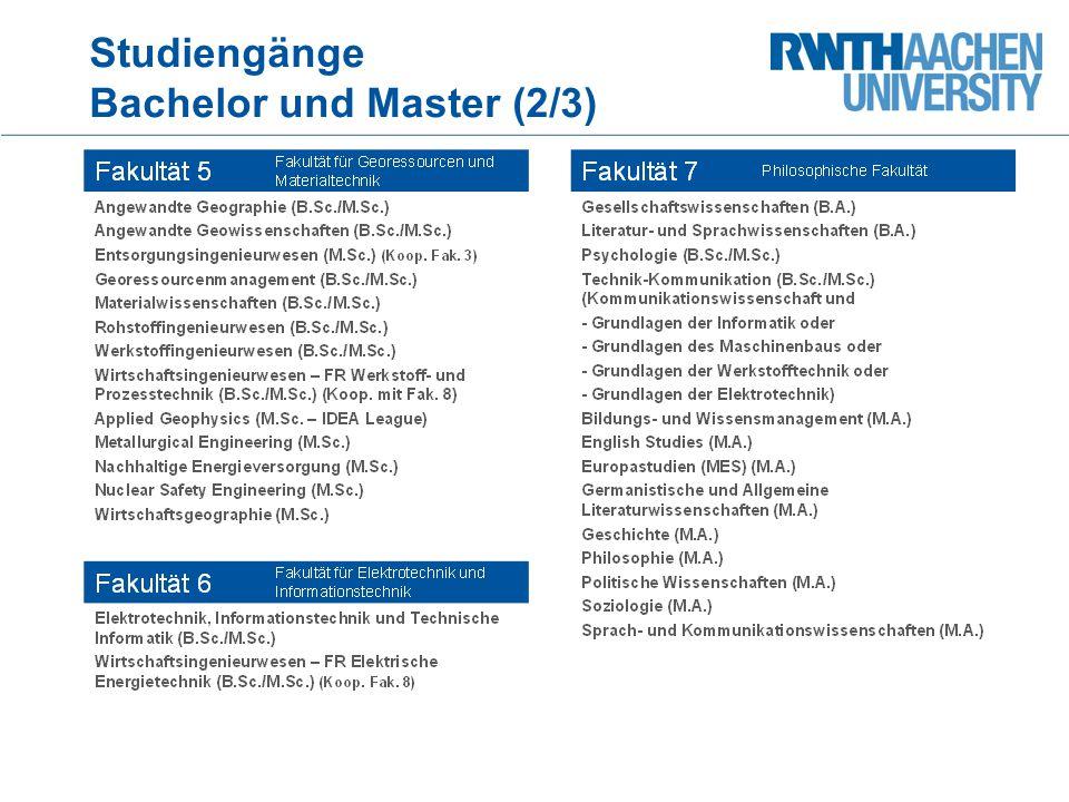 Studiengänge Bachelor und Master (2/3)