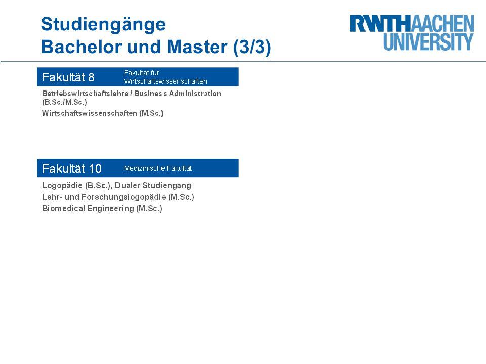 Studiengänge Bachelor und Master (3/3)