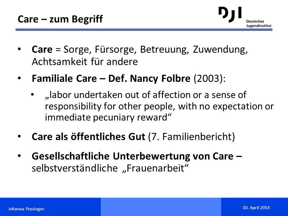 Care = Sorge, Fürsorge, Betreuung, Zuwendung, Achtsamkeit für andere