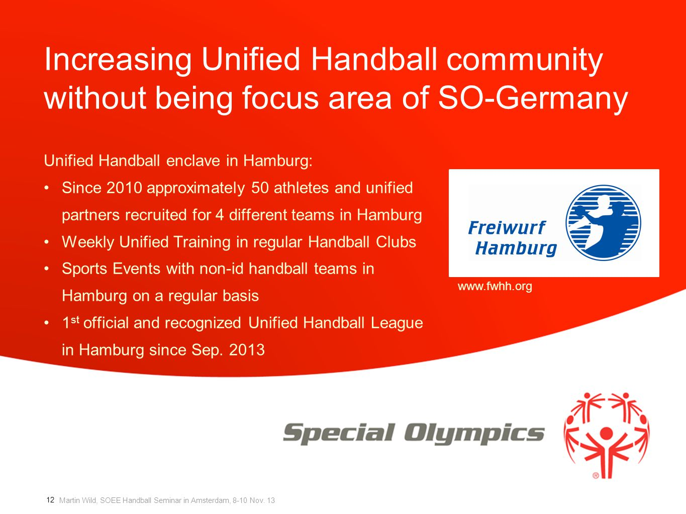 Increasing Unified Handball community without being focus area of SO-Germany