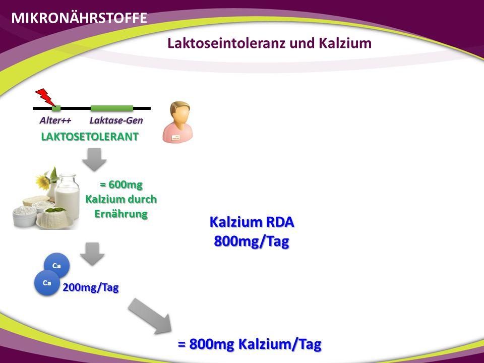 Laktoseintoleranz und Kalzium = 600mg Kalzium durch Ernährung