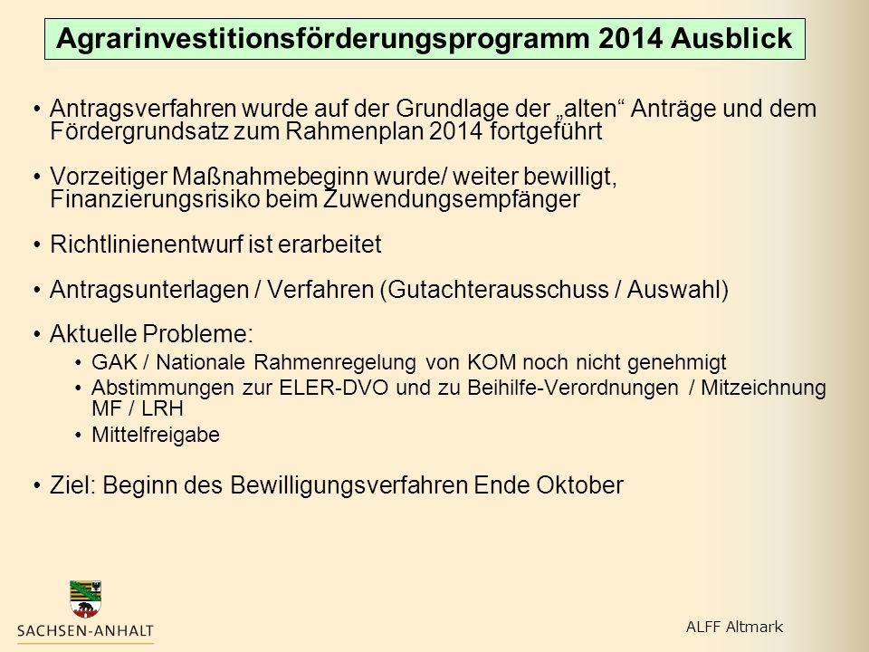 Agrarinvestitionsförderungsprogramm 2014 Ausblick