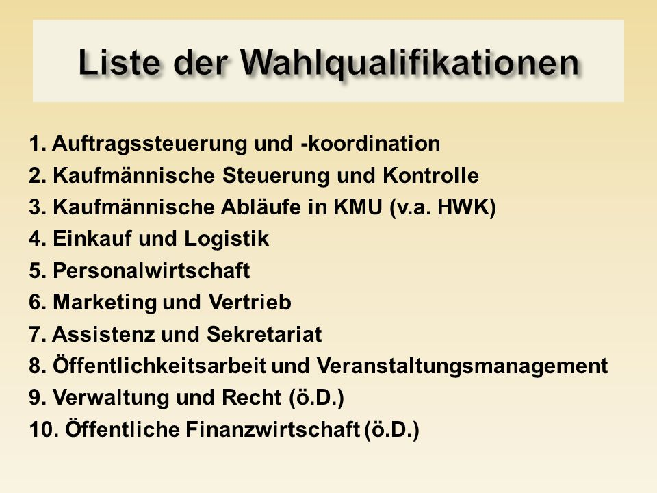 Liste der Wahlqualifikationen