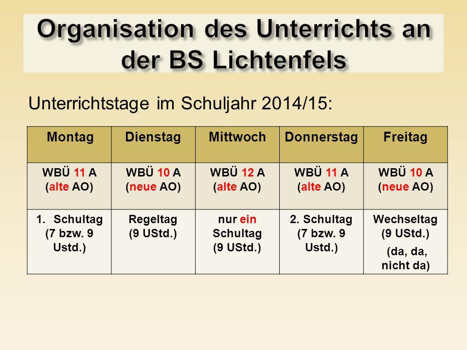 Organisation des Unterrichts an der BS Lichtenfels