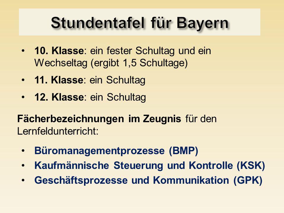 Stundentafel für Bayern