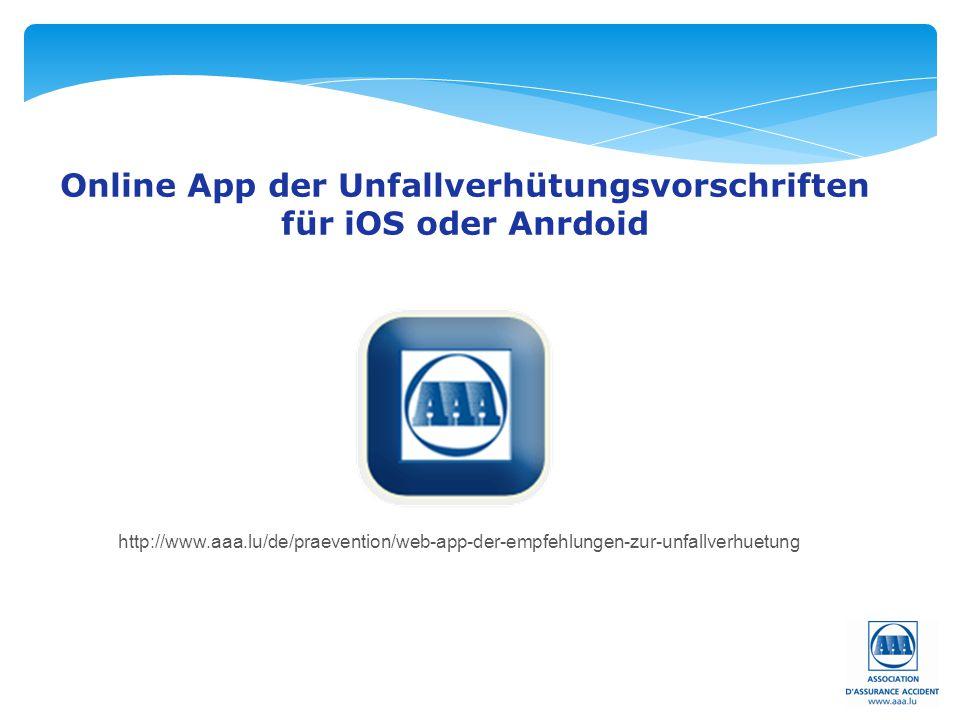 Online App der Unfallverhütungsvorschriften für iOS oder Anrdoid