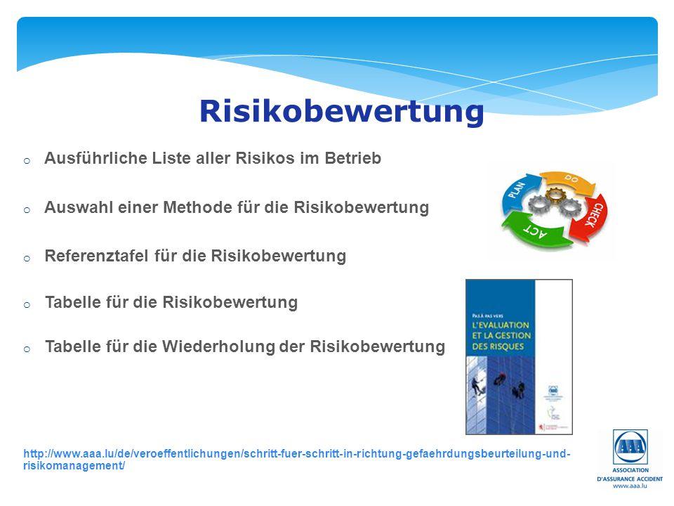 Risikobewertung Ausführliche Liste aller Risikos im Betrieb