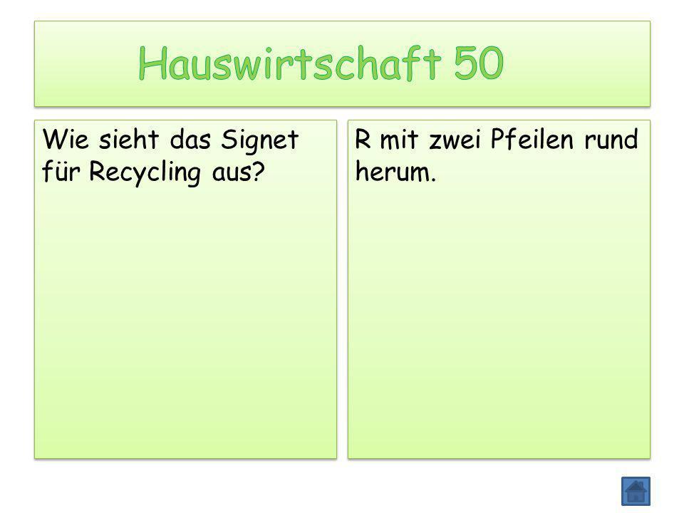 Hauswirtschaft 50 Wie sieht das Signet für Recycling aus