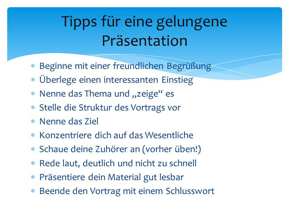 Tipps für eine gelungene Präsentation