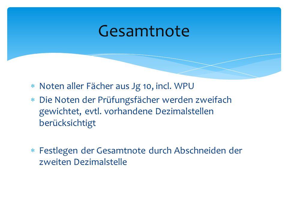 Gesamtnote Noten aller Fächer aus Jg 10, incl. WPU