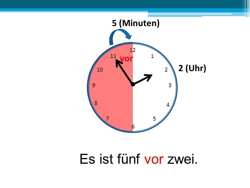 Es ist fünf vor zwei. 5 (Minuten) vor 2 (Uhr) 12 11 1 10 2 9 3 8 4 7 5