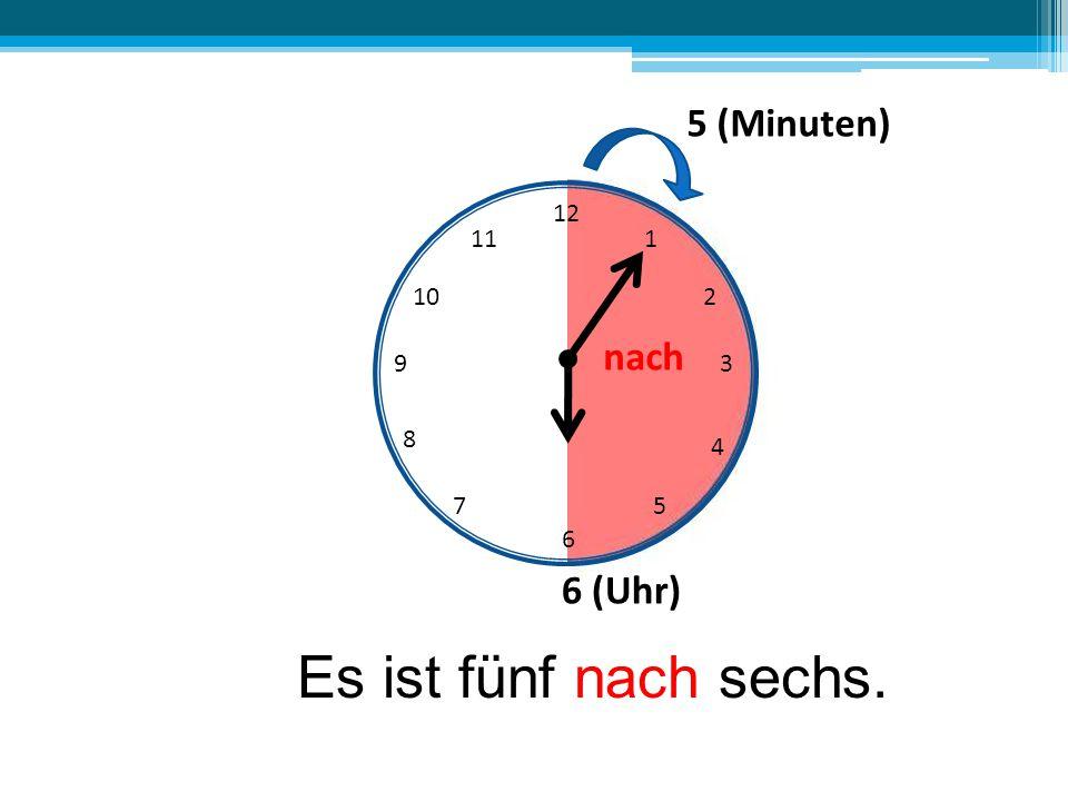 Es ist fünf nach sechs. 5 (Minuten) nach 6 (Uhr) 12 11 1 10 2 9 3 8 4