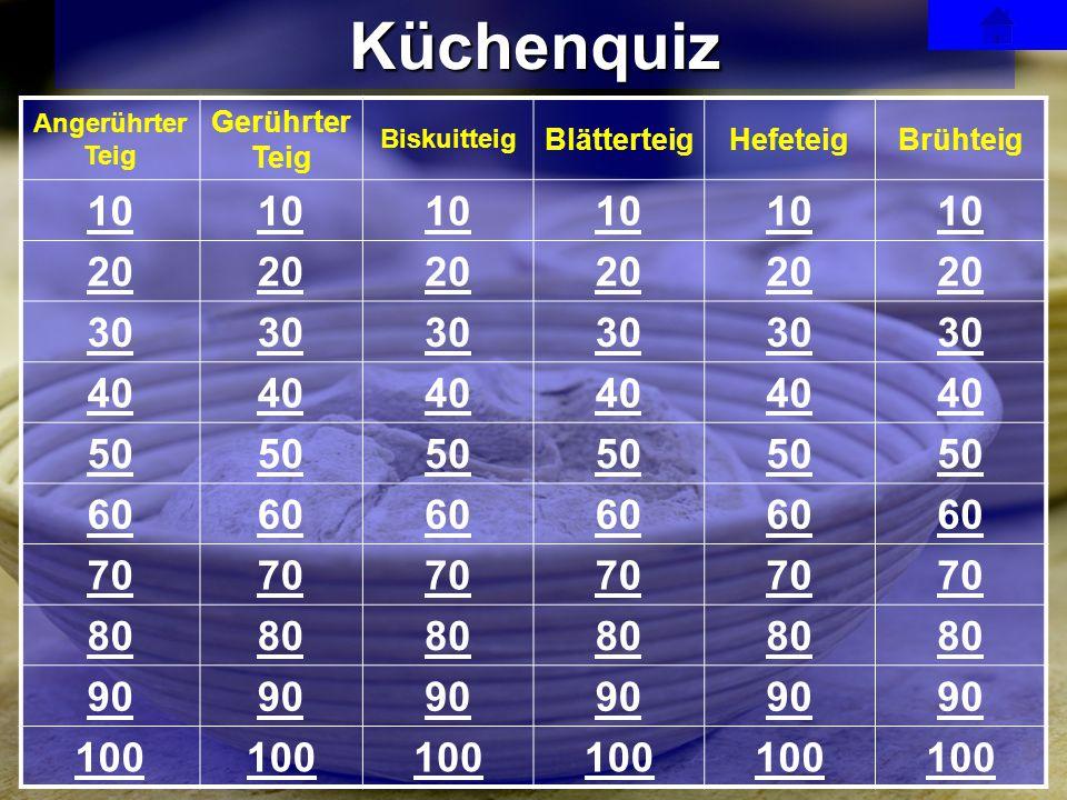 Küchenquiz 10 20 30 40 50 60 70 80 90 100 Gerührter Teig Blätterteig