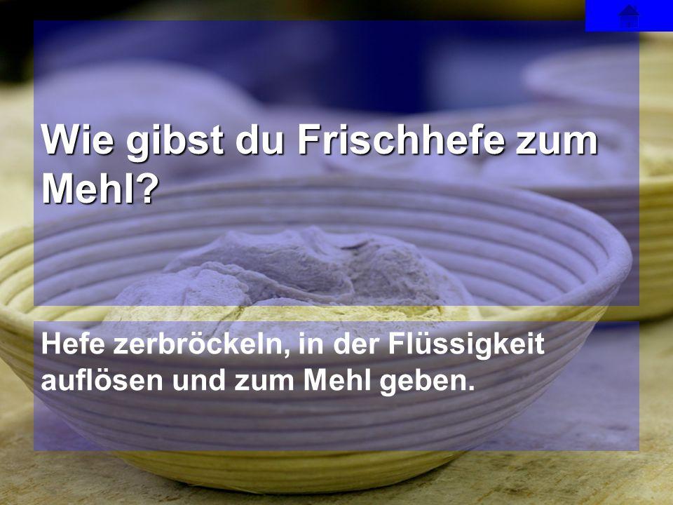 Wie gibst du Frischhefe zum Mehl