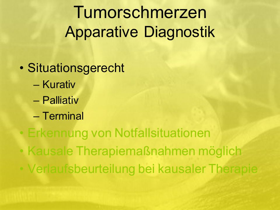 Tumorschmerzen Apparative Diagnostik