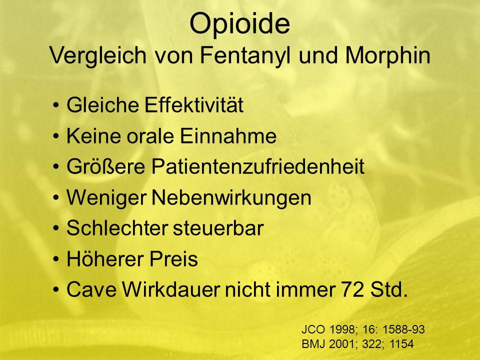 Opioide Vergleich von Fentanyl und Morphin