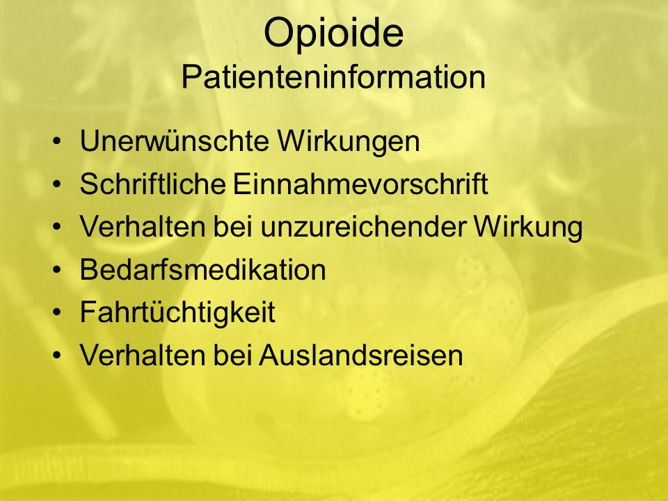 Opioide Patienteninformation