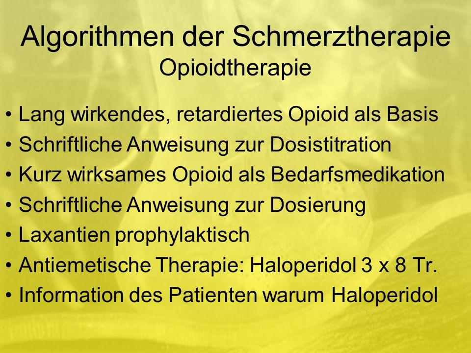 Algorithmen der Schmerztherapie Opioidtherapie