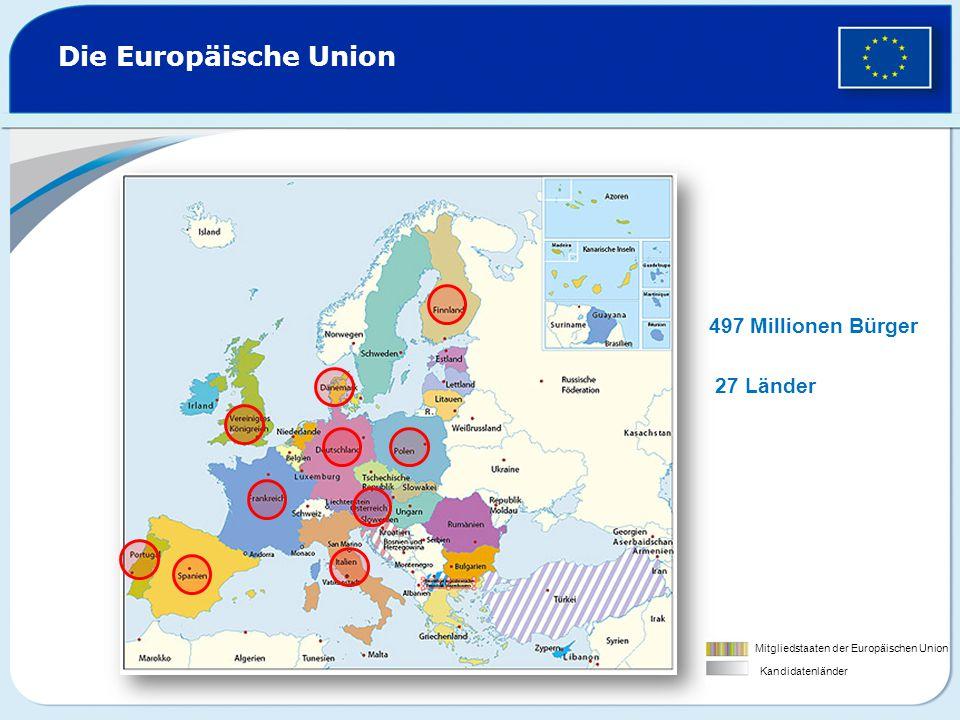Die Europäische Union 497 Millionen Bürger 27 Länder