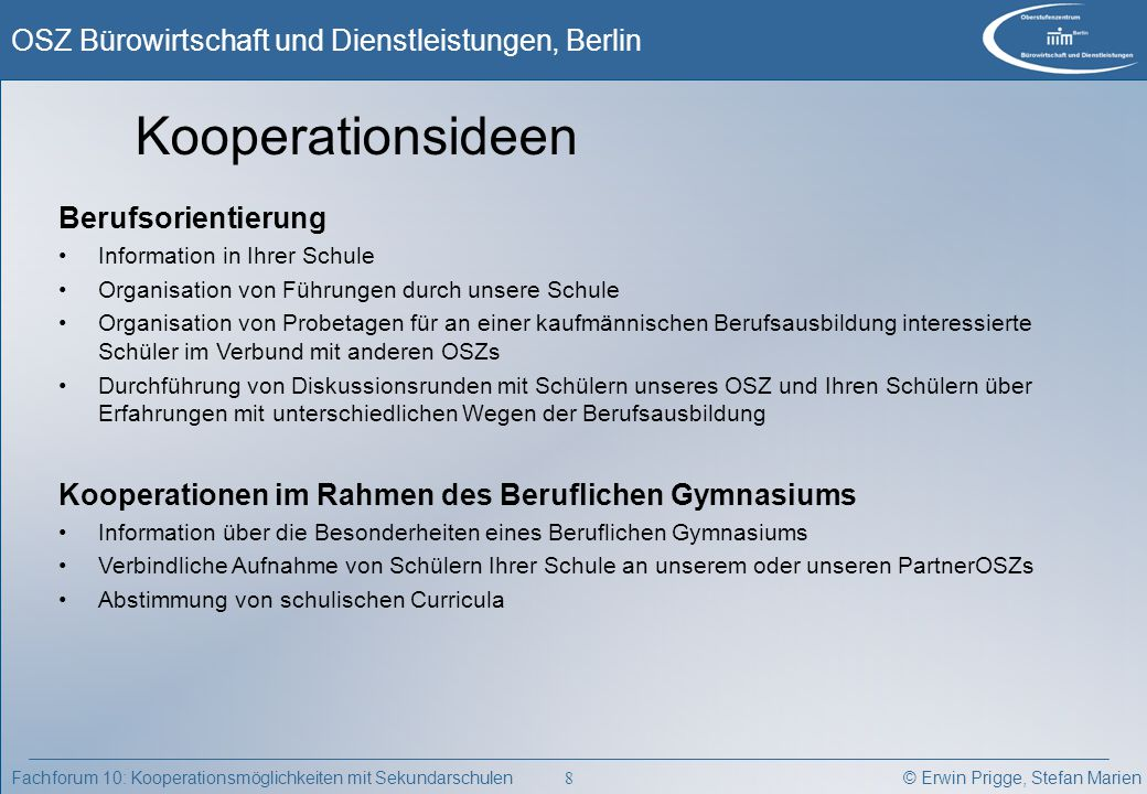 Kooperationsideen Berufsorientierung