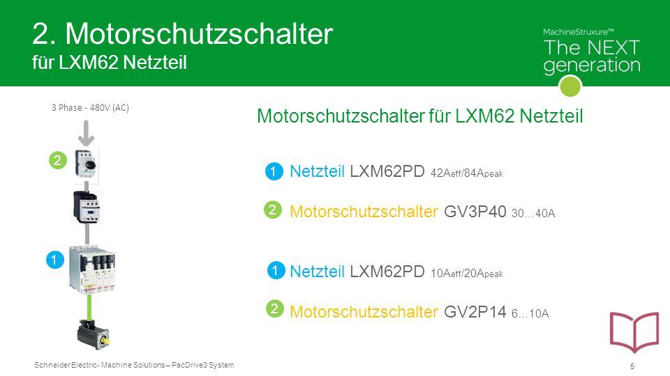 2. Motorschutzschalter für LXM62 Netzteil