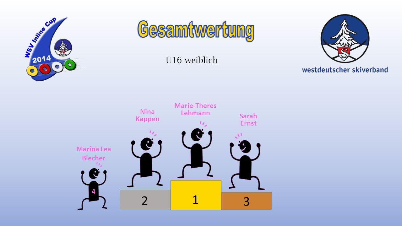 Gesamtwertung 1 2 3 U16 weiblich Marie-Theres Lehmann Nina Kappen
