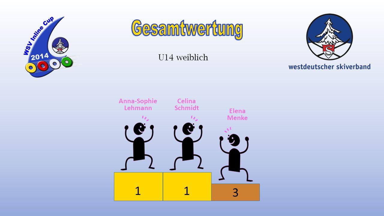 Gesamtwertung 1 1 3 U14 weiblich Anna-Sophie Lehmann Celina Schmidt