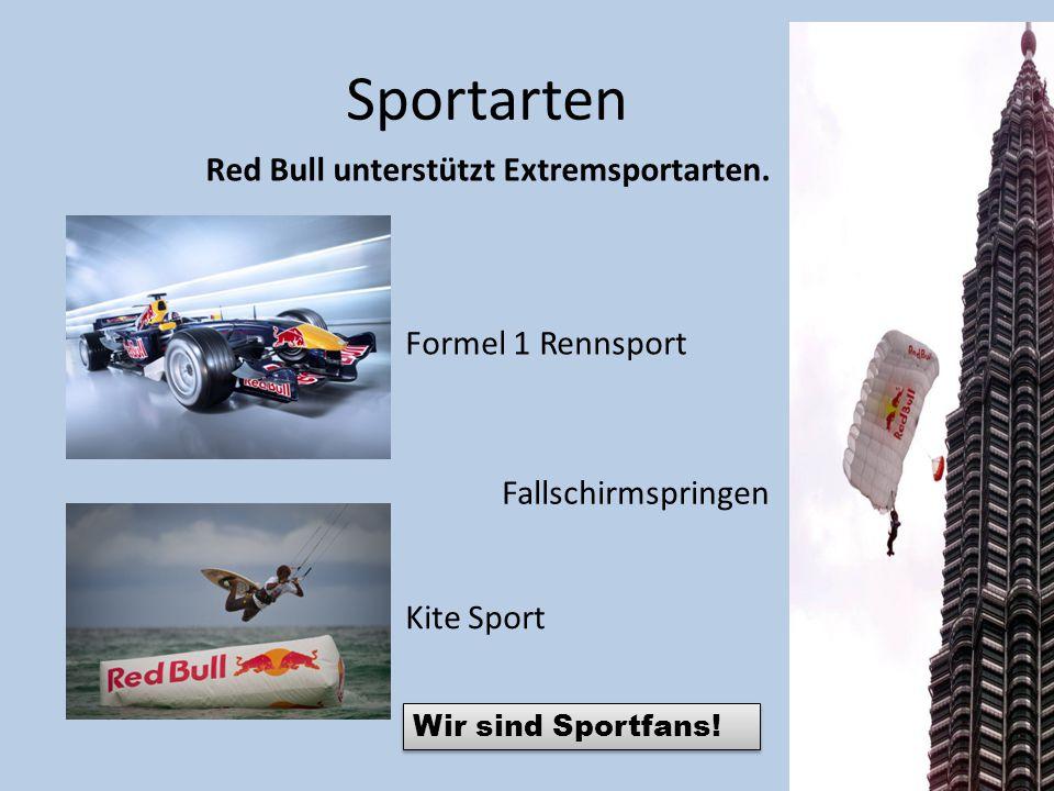 Sportarten Red Bull unterstützt Extremsportarten. Formel 1 Rennsport