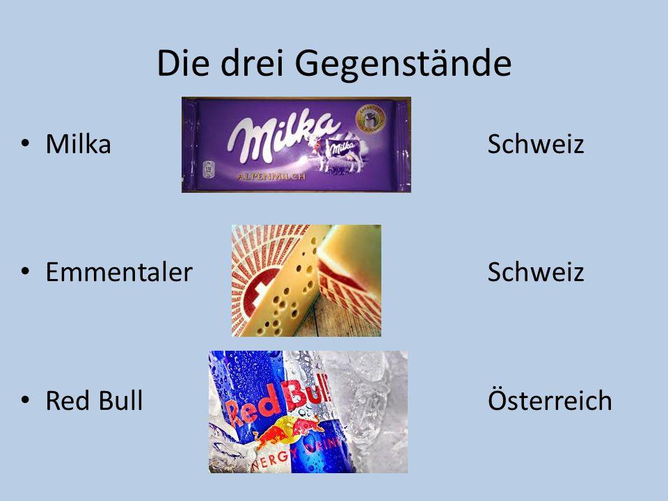 Die drei Gegenstände Milka Schweiz Emmentaler Schweiz