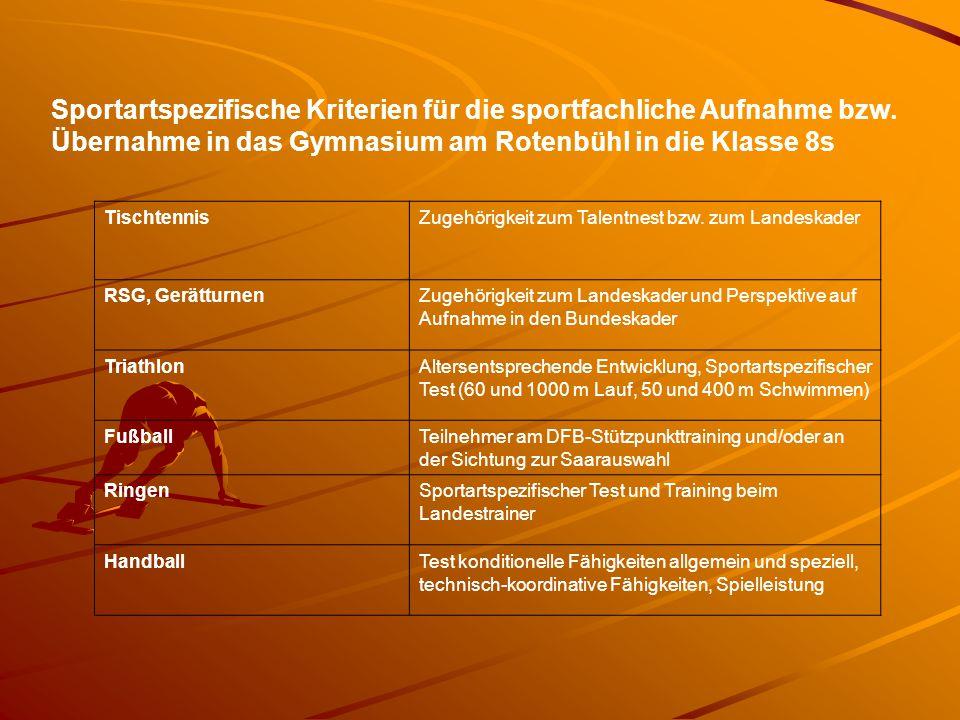 Sportartspezifische Kriterien für die sportfachliche Aufnahme bzw
