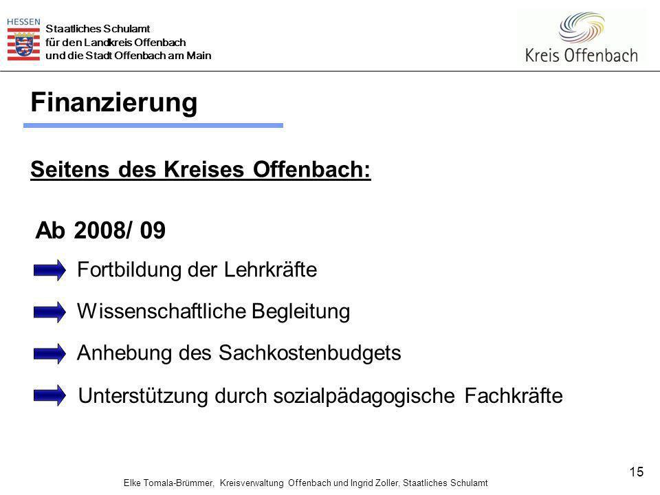 Finanzierung Ab 2008/ 09 Seitens des Kreises Offenbach: