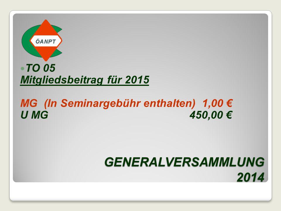 GENERALVERSAMMLUNG 2014 TO 05 Mitgliedsbeitrag für 2015