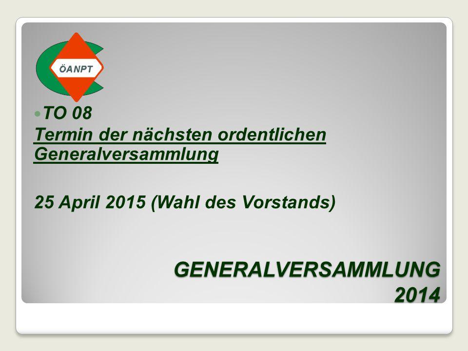 GENERALVERSAMMLUNG 2014 TO 08