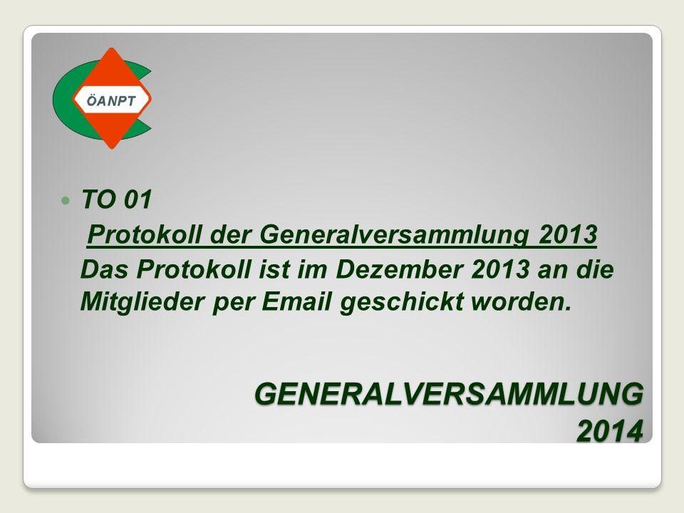 GENERALVERSAMMLUNG 2014 TO 01 Protokoll der Generalversammlung 2013