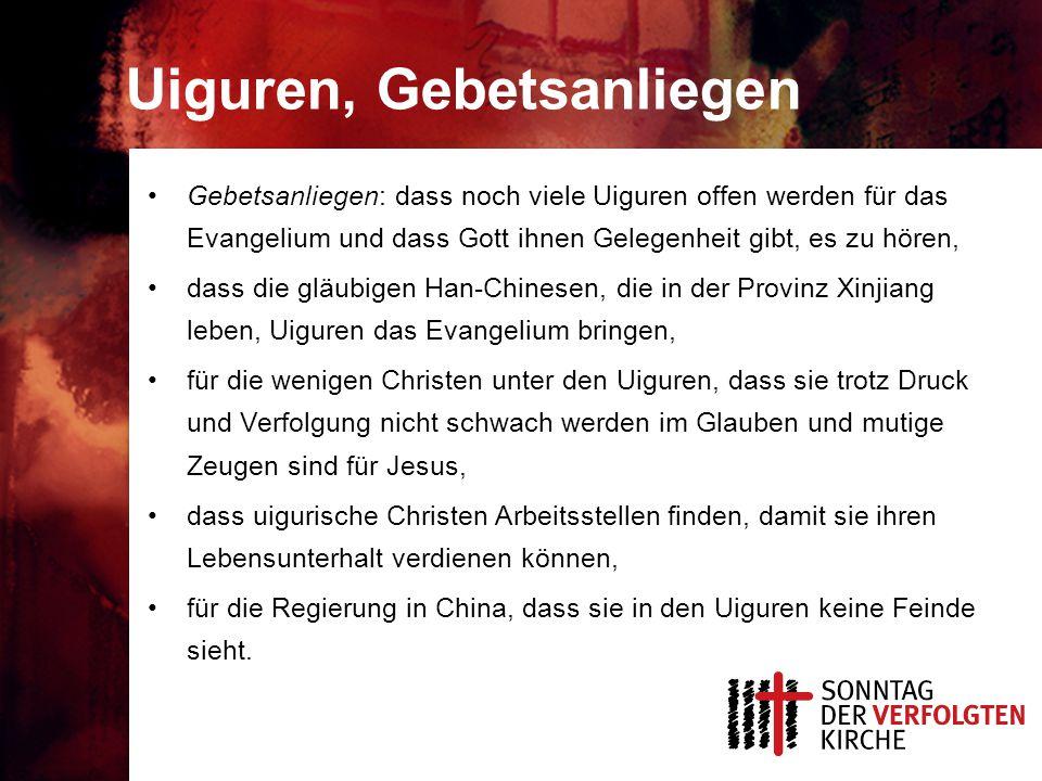 Uiguren, Gebetsanliegen