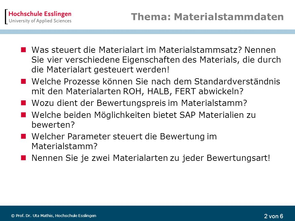 Thema: Materialstammdaten